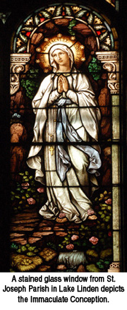 Stained glass image of Immaculate Conception from St. Joseph Lake Linden