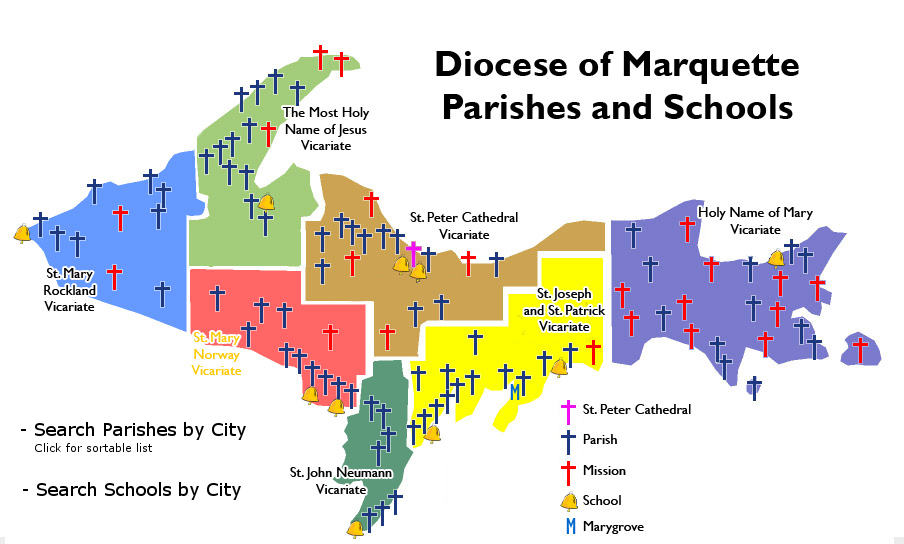 Diocese of Marquette  Our Parishes map